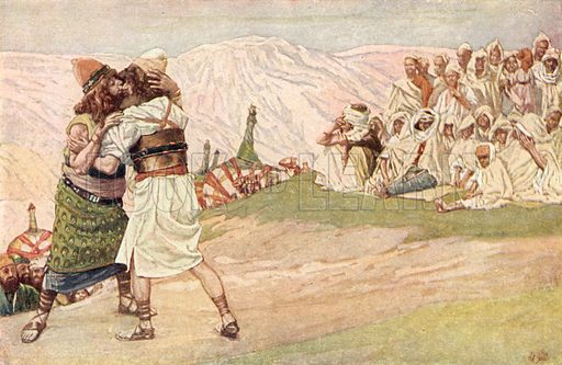 The Meeting of Esau and Jacob, Gen xxxiii 4. Illustration for The Old Testament - Part I (Brunoff, 1904).