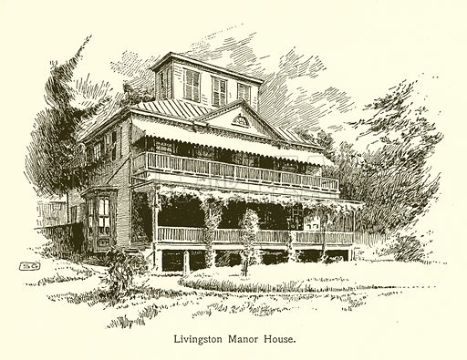 Livingston Manor House, Washington in New York. Illustration for American Landmarks (Balch, 1893).