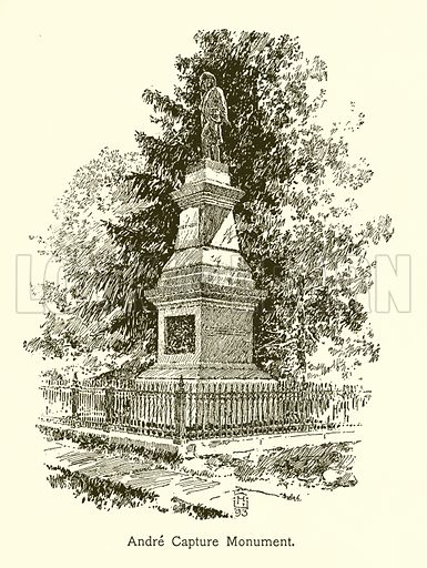 Andre Capture Monument, West Point. Illustration for American Landmarks (Balch, 1893).