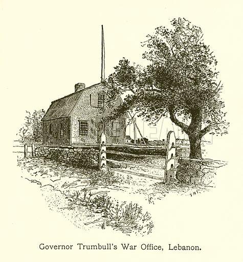 Governor Trumbull's War Office, Lebanon, Connecticut. Illustration for American Landmarks (Balch, 1893).