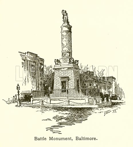 Battle Monument, Baltimore. Illustration for American Landmarks (Balch, 1893).