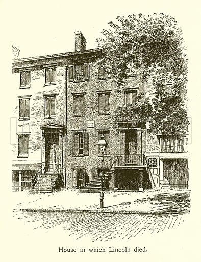 House in which Lincoln died, Abraham Lincoln. Illustration for American Landmarks (Balch, 1893).