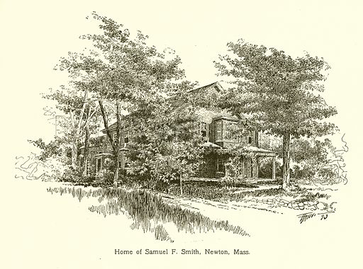 Home of Samuel F Smith, Newton, Mass. Illustration for American Landmarks (Balch, 1893).