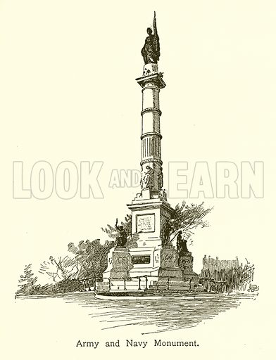 Army and Navy Monument, Boston Common. Illustration for American Landmarks (Balch, 1893).