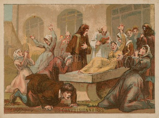 French educational card. Convulsionaries or religious mystics in trances.