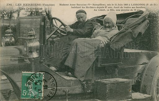 Madame Anne Brugere born 1809 in a motor car with her daughter aged 73