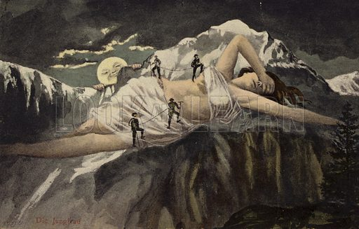 A naked woman on a mountainside being climbed by mountaineers while the moon looks on