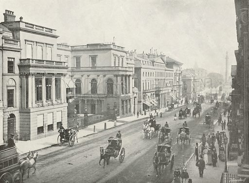 Regent Street and Waterloo Place. Illustration for The Queen's London (Cassell, 1896).