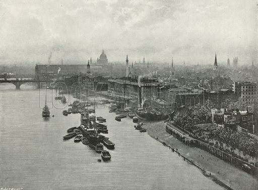 View up the River from the Tower Bridge (High Level). Illustration for The Queen's London (Cassell, 1896).