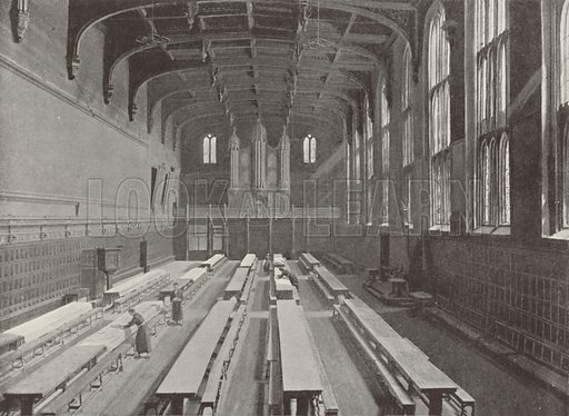 Christ's Hospital: The Dining Hall. Illustration for The Queen's London (Cassell, 1896).