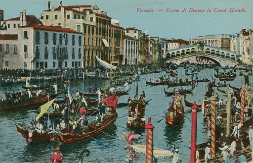 Grand Canal, Venice. Postcard sent in 1913.