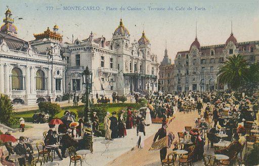 Terrace of the Cafe de Paris, Place du Casino, Monte Carlo. Postcard sent in 1913.