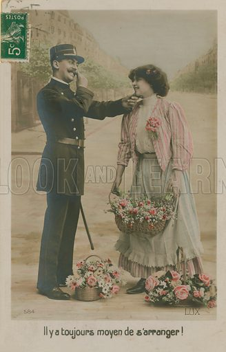 French policeman with a flower girl