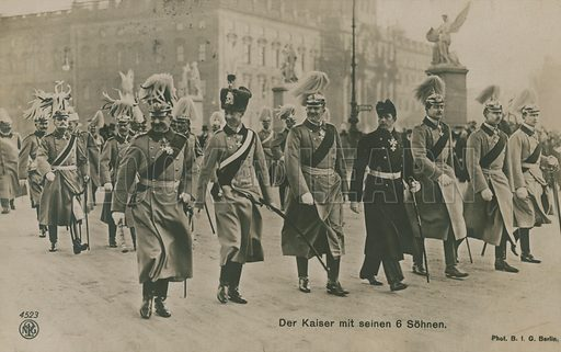 Kaiser Wilhelm II of Germany with his six sons. Postcard sent in 1913.