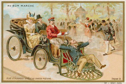 Car With A Pedestrian Equivalent Of Cow Catcher Au Bon Marche Card