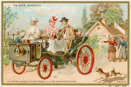A 'dining car'. A car adapted to enable passengers to eat dinner as they travel. Au Bon Marche card.
