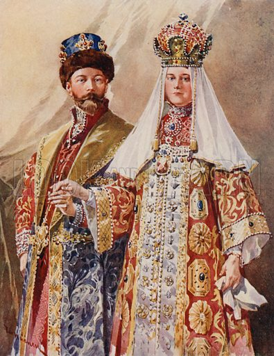 Emperor and Empress in Ancient Dress of the Tsar and Tsaritsa of the Old Muscovite Empire, as Worn at an Historical Costume Ball in the Palace. Illustration for St Petersburg (A&C Black, 1910).