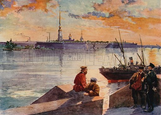 The Palace Quay of the Neva, Showing the River Frontage of the Winter Palace. Illustration for St Petersburg (A&C Black, 1910).