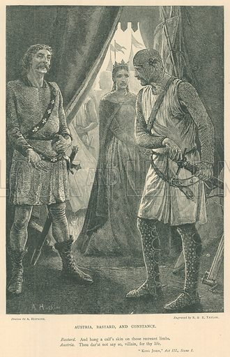 Illustration for King John.  Illustration for The Plays of William Shakespeare edited by Charles and Mary Cowden Clarke (Cassell, c 1890).