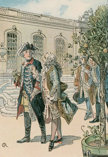 Frederick the Great (1712–1786) in conversation with the French philosopher, Voltaire (1694–1778). Illustration from House of Hohenzollern in Pictures and Words by Carl Rohling and Richard Sternfeld. Published by Martin Oldenbourg in Berlin, c 1900.