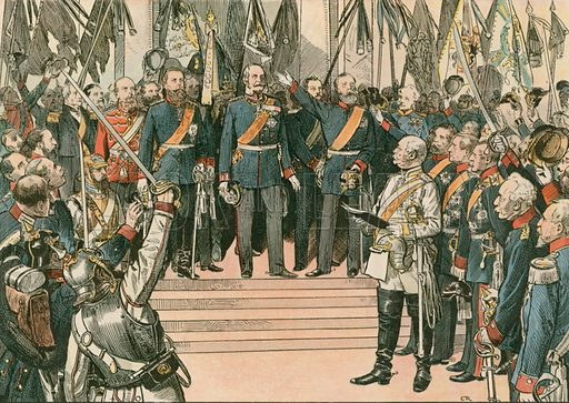 Wilhelm I, King of Prussia and first German Emperor (1797-1888), is recognised as the Kaiser of the newly united German Empire at the Treaty of Versailles in 1871. Illustration from House of Hohenzollern in Pictures and Words by Carl Rohling and Richard Sternfeld. Published by Martin Oldenbourg in Berlin, c 1900.