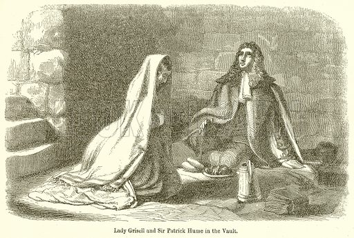 Lady Grisell and Sir Patrick Hume in the Vault. Illustration for The Scots Worthies (Blackie, 1879).