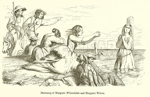Drowning of Margaret M'Lauchlan and Margaret Wilson. Illustration for The Scots Worthies (Blackie, 1879).