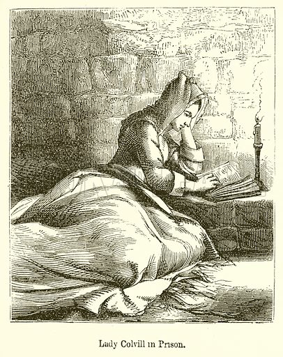 Lady Colvill in Prison. Illustration for The Scots Worthies (Blackie, 1879).