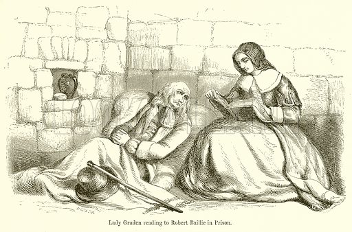 Lady Graden reading to Robert Baillie in Prison. Illustration for The Scots Worthies (Blackie, 1879).