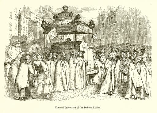 Funeral Procession of the Duke of Rothes. Illustration for The Scots Worthies (Blackie, 1879).