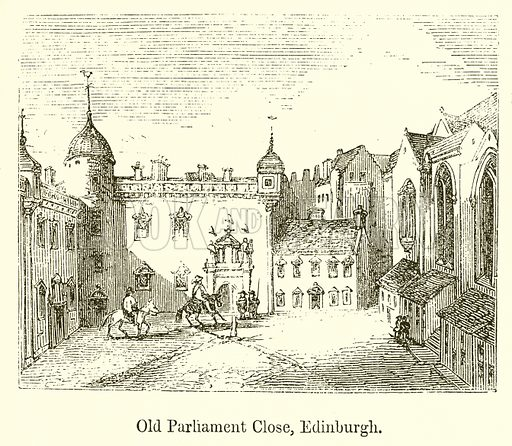 Old Parliament Close, Edinburgh. Illustration for The Scots Worthies (Blackie, 1879).