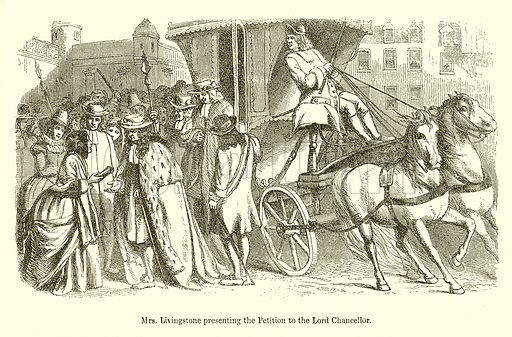 Mrs Livingstone presenting the Petition to the Lord Chancellor. Illustration for The Scots Worthies (Blackie, 1879).