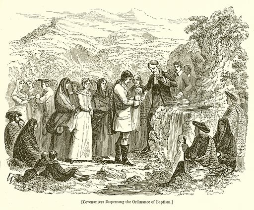 Covenanters Dispensing the Ordinance of Baptism. Illustration for The Scots Worthies (Blackie, 1879).