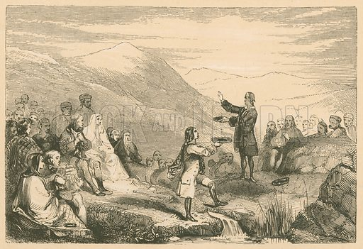 Donald Cargill preaching in the Fields. Illustration for The Scots Worthies (Blackie, 1879).