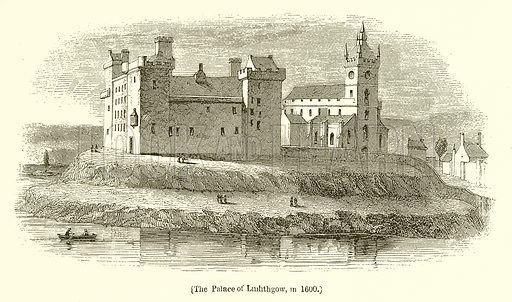 The Palace of Linlithgow, in 1600. Illustration for The Scots Worthies (Blackie, 1879).