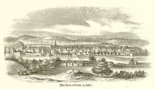 The Town of Perth in 1580. Illustration for The Scots Worthies (Blackie, 1879).