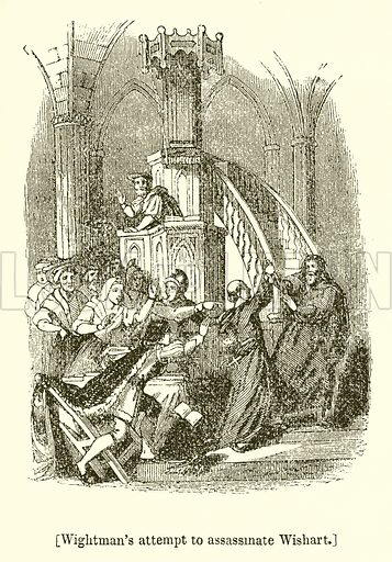 Wightman's Attempt to Assassinate Wishart. Illustration for The Scots Worthies (Blackie, 1879).