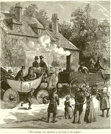 """""""The Carriage was attached to the Back of the Engine."""" Illustration for Chatterbox, c 1905."""