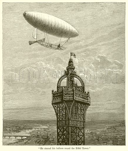"""""""He steered his Balloon Round the Eiffel Tower."""" Illustration for Chatterbox, c 1905."""