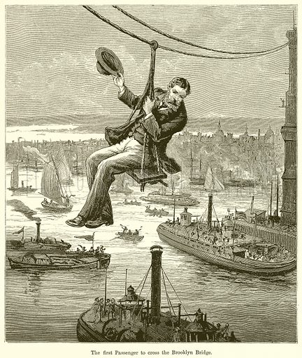 The First Passenger to cross the Brooklyn Bridge. Illustration for Chatterbox, c 1905.