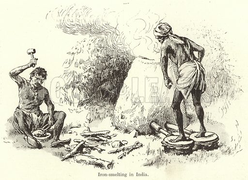 Iron-Smelting in India. Illustration for Chatterbox, c 1905.