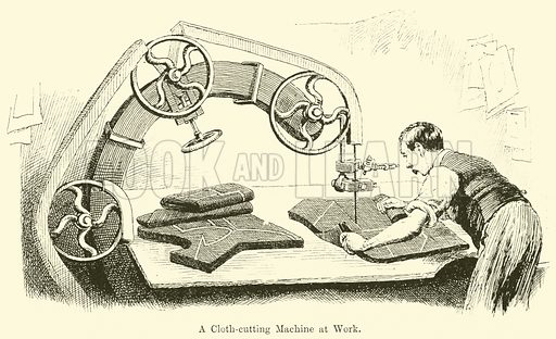 A Cloth-Cutting Machine at Work. Illustration for Chatterbox, c 1905.