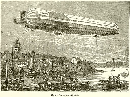 Count Zeppelin's Airship. Illustration for Chatterbox, c 1905.