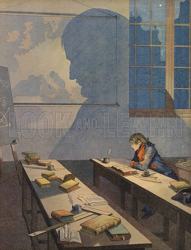The young Napoleon Bonaparte studying at the military academy at Brienne-le-Chateau, France, circa 1780. Published in Bonaparte, by Georges Montorgueil and illustrated by Job (pseudonym of Jacques Marie Gaston Onfroy de Breville), by Boivin & Cie (publisher), Paris, 1908.
