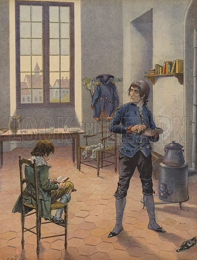 Napoleon Bonaparte in Auxonne with his younger brother, Louis. Published in Bonaparte, by Georges Montorgueil and illustrated by Job (pseudonym of Jacques Marie Gaston Onfroy de Breville), by Boivin & Cie (publisher), Paris, 1908.