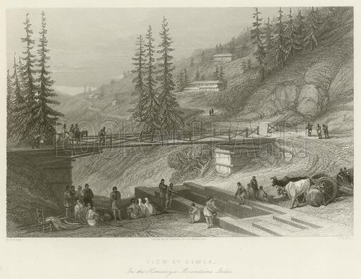 View at Simla, in the Himalaya Mountains, India. Illustration for The Gallery of Engravings (circa 1880). Drawn by D Roberts, from a drawing from nature by GF White. Engraved by JB Allen.