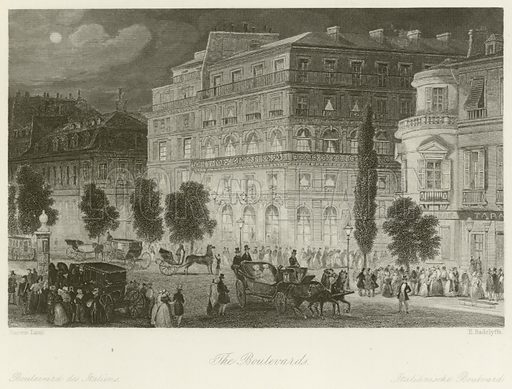 The Boulevards. Illustration for The Gallery of Engravings (circa 1880). Painted by Eugene Lami. Engraved by E Radclyffe.