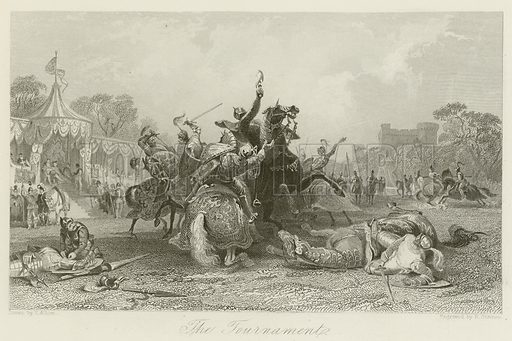 The Tournament. Illustration for The Gallery of Engravings (circa 1880). Drawn by Thomas Allom, engraved by R Staines.