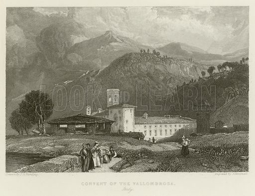 Convent of the Vallombrosa, Italy. Illustration for The Gallery of Engravings (circa 1880). Drawn by JD Harding. Engraved by J Henshall.