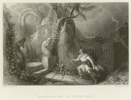 Christian got up to the gate. Illustration for The Gallery of Engravings (circa 1880). Drawn by H Melville, engraved by W Floyd.